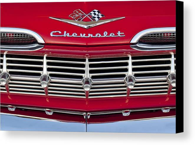 1959 Chevrolet Canvas Print featuring the photograph 1959 Chevrolet Grille Ornament by Jill Reger