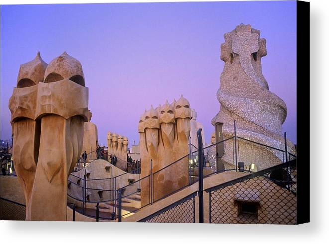 Colour Canvas Print featuring the photograph Spain. Barcelona. Mil� House Or The by Everett