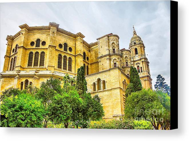 Ancient Canvas Print featuring the painting Malaga Cathedral In Andalusia by Dragomir Nikolov