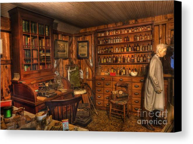 Alchemist Canvas Print featuring the photograph A Visit To The Doctor's Office - Old Time Physician Office - Doctors - Pharmacists - Opticians by Lee Dos Santos