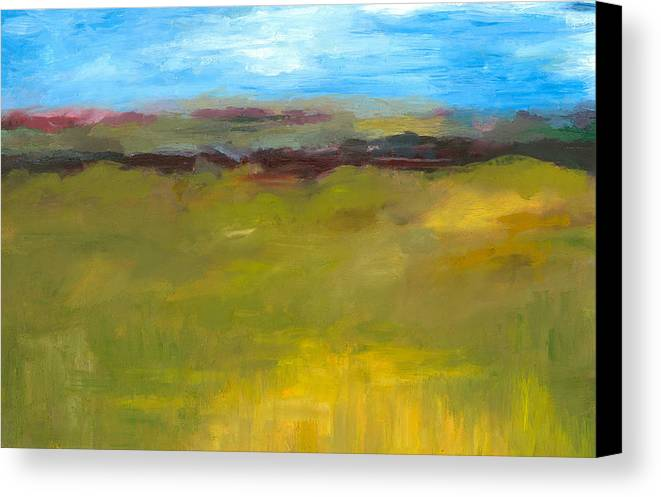 Abstract Expressionism Canvas Print featuring the painting Abstract Landscape - The Highway Series by Michelle Calkins