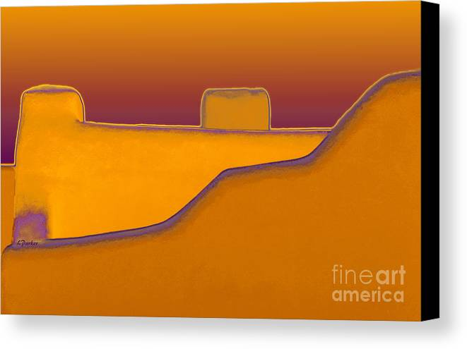 Architecture Canvas Print featuring the photograph Adobe Rooftop-- Sunset by Linda Parker