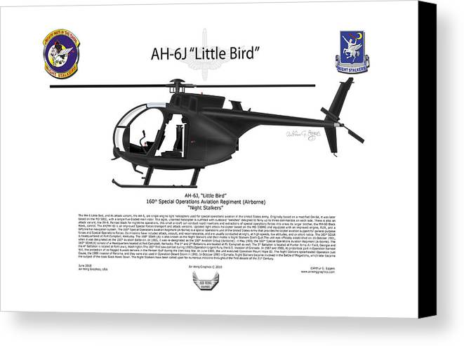 Helicopter Canvas Print featuring the digital art Ah-6j Little Bird by Arthur Eggers
