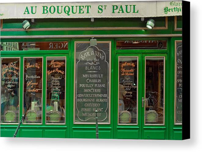 French Cafe Canvas Print featuring the photograph Au Bouquet St. Paul by Matthew Bamberg