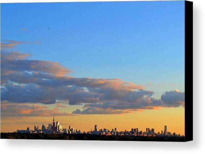 Abstract Canvas Print featuring the photograph August Early Evening Toronto 4 by Lyle Crump