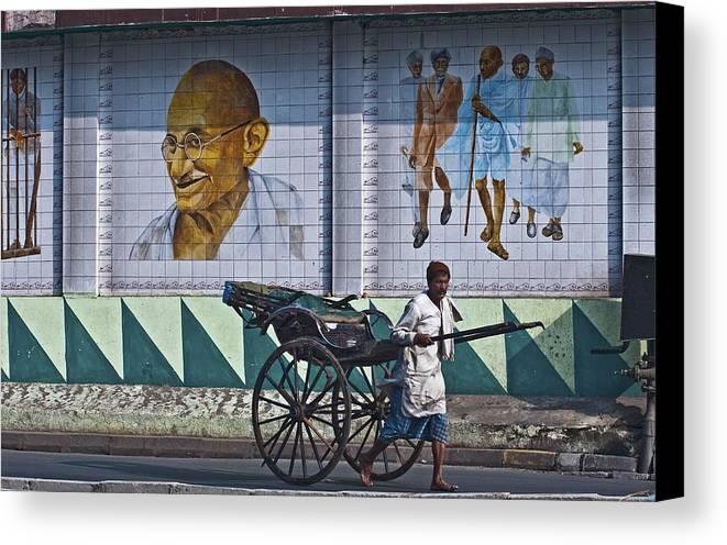 India Canvas Print featuring the photograph Calcutta - Rickshaw Passing Mahatma Gandhi Rd Metro-station by Urs Schweitzer