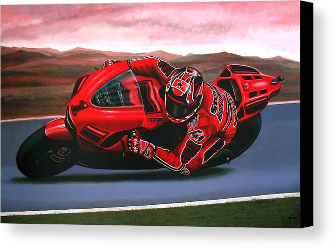 Casey Stoner On Ducati Canvas Print featuring the painting Casey Stoner On Ducati by Paul Meijering
