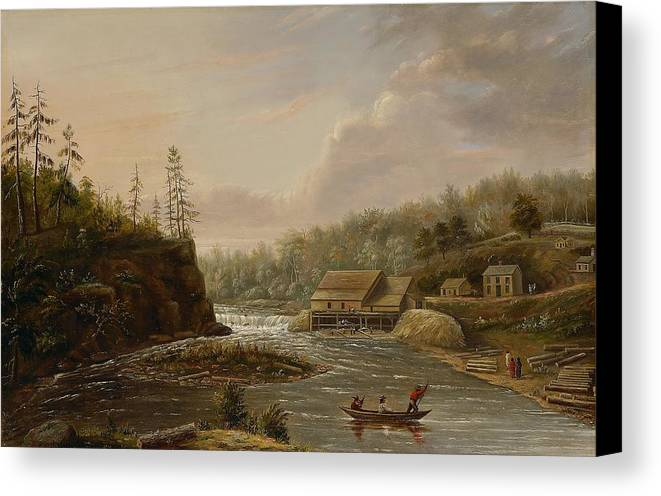 Cheever's Mill; St. Croix River; Landscape; Minnesota; Mill; Building; Industry; Industrial; Industrialisation; Boat; Figures; Houses; Buildings; Exterior; Flowing; Water; Trees; Woodland; Logging; Timber; America; American; Usa; Settlers; Settlement; Hudson River School; Wood Canvas Print featuring the painting Cheevers Mill On The St. Croix River by Henry Lewis