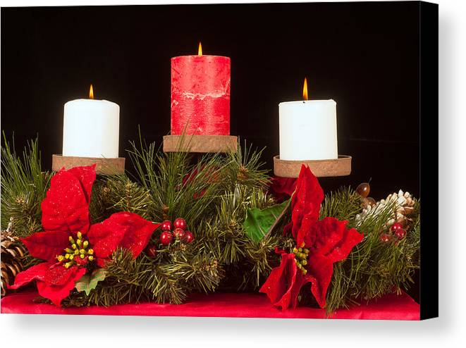 Christmas Canvas Print featuring the photograph Christmas Candle Trio by Kenneth Sponsler