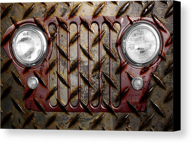 Jeep Canvas Print featuring the photograph Civilian Jeep- Maroon by Luke Moore