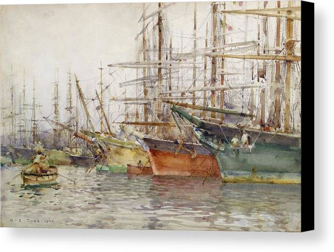 Genoa Canvas Print featuring the painting Genoa Harbour, 1904 by Henry Scott Tuke