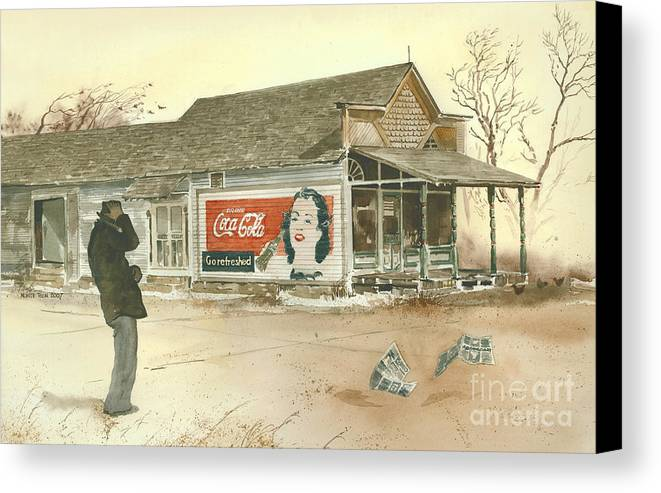 Landscape Showing A Man Hanging Onto His Hat As He Braces Against A Gust Of Wind Near A Small Town Grocery Store. The Coca Cola Sign Painted On The Side Of The Store Beckons Him To go Refreshed. Canvas Print featuring the painting Go Refreshed by Monte Toon
