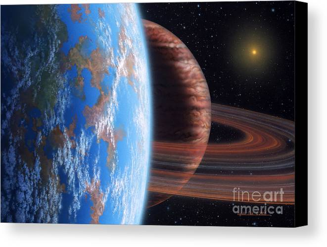lynette Cook Canvas Print featuring the painting Hd 177830 B And Moon by Lynette Cook