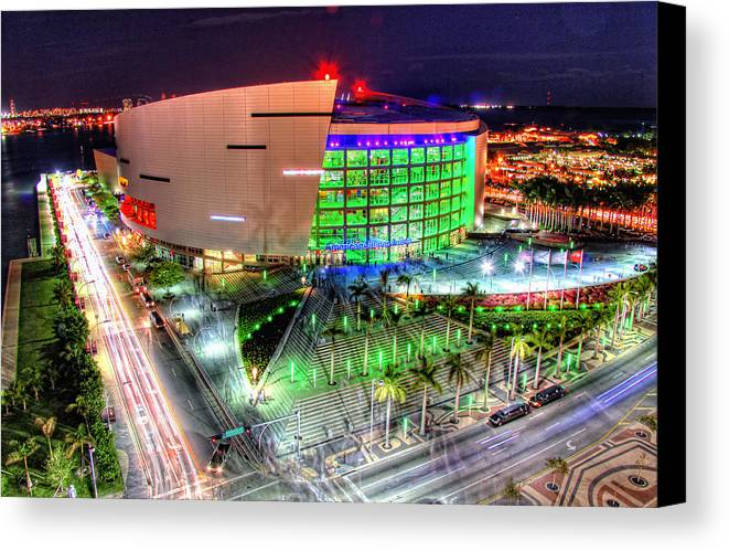 Aaa Canvas Print featuring the photograph Hdr Of American Airlines Arena by Joe Myeress