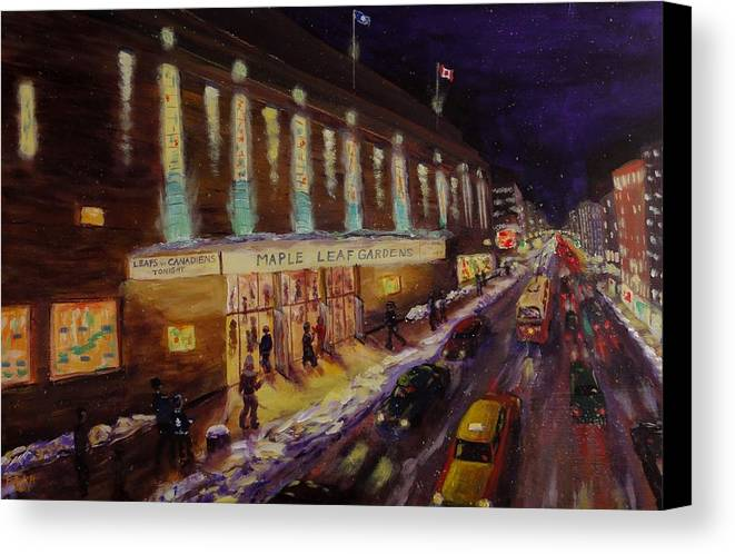 Hockey Canvas Print featuring the painting Hockey Memories - Maple Leaf Gardens by Brent Arlitt