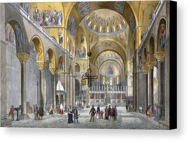 Architecture Canvas Print featuring the drawing Interior Of San Marco Basilica, Looking by Italian School