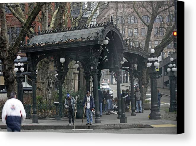 Square Canvas Print featuring the photograph Iron Pergola Pioneer Square by James Connor