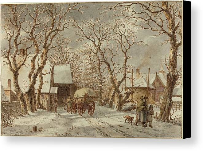 Jacob Canvas Print featuring the drawing Jacob Cats Dutch, 1741 - 1799, Winter Scene by Quint Lox