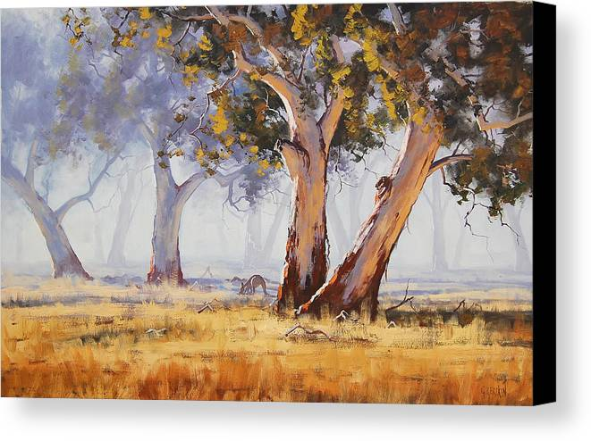 Eucalyptus Trees Canvas Print featuring the painting Kangaroo Grazing by Graham Gercken