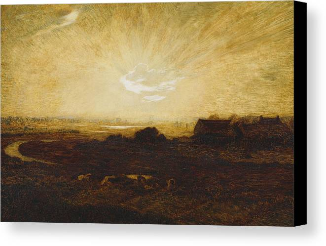 Sun Canvas Print featuring the painting Landscape At Sunset by Marie Auguste Emile Rene Menard