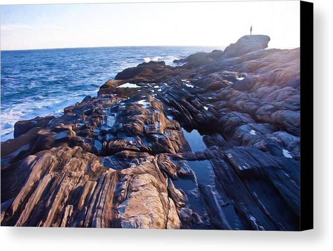 Maine Canvas Print featuring the photograph Lone Person On Rocks At Pemaquid Point by Frank Tozier