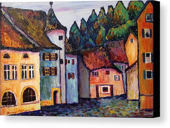 Medieval Canvas Print featuring the painting Medieval Village Of St. Ursanne Switzerland by Art Nomad Sandra Hansen