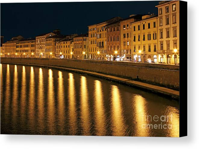Town Canvas Print featuring the photograph Night View Of River Arno Bank In Pisa by Kiril Stanchev