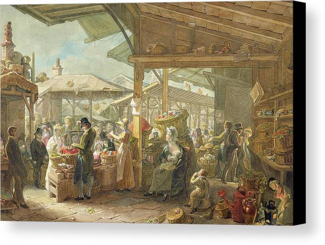 London Canvas Print featuring the painting Old Covent Garden Market by George the Elder Scharf