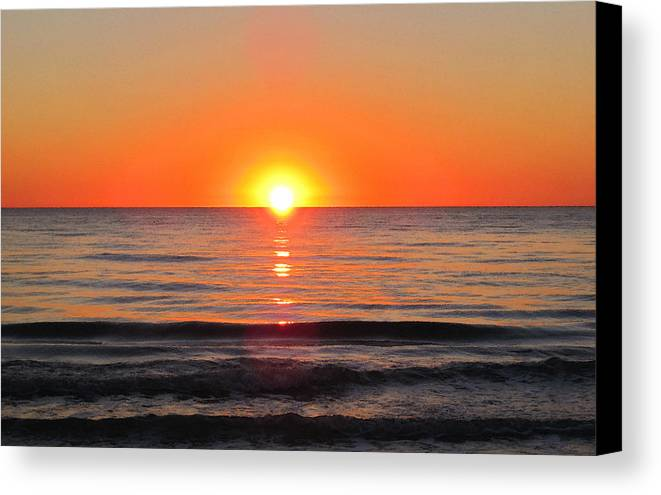Sharon Cummings Canvas Print featuring the painting Orange Sunset by Sharon Cummings