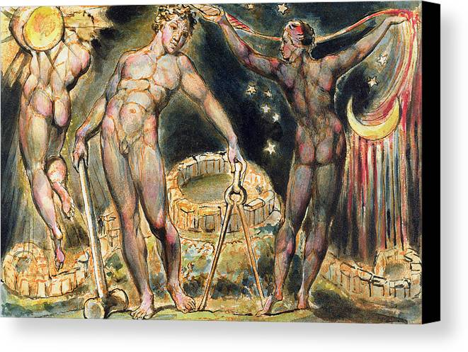 Nude Canvas Print featuring the painting Plate 100 From Jerusalem by William Blake