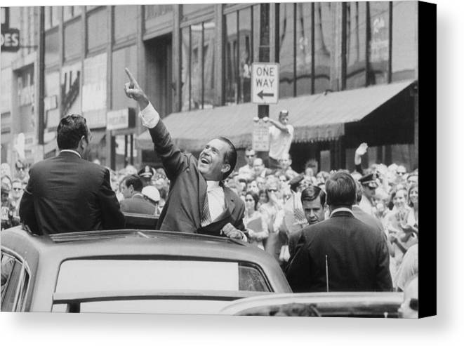 History Canvas Print featuring the photograph President Nixon Pointing At The Crowd by Everett