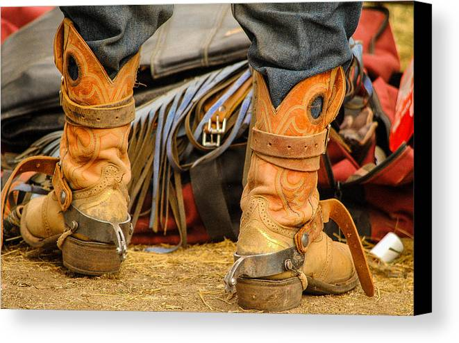 Boot Canvas Print featuring the photograph Rodeo Cowboy Tools Of The Trade by Miki Finn