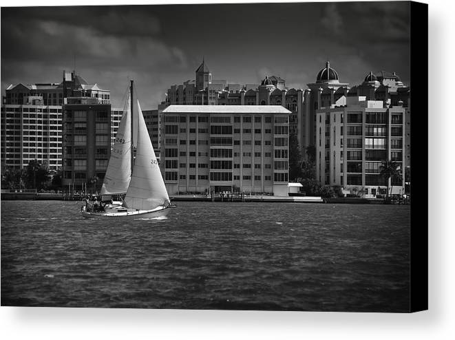 B&w Canvas Print featuring the photograph Sailing Away by Mario Celzner