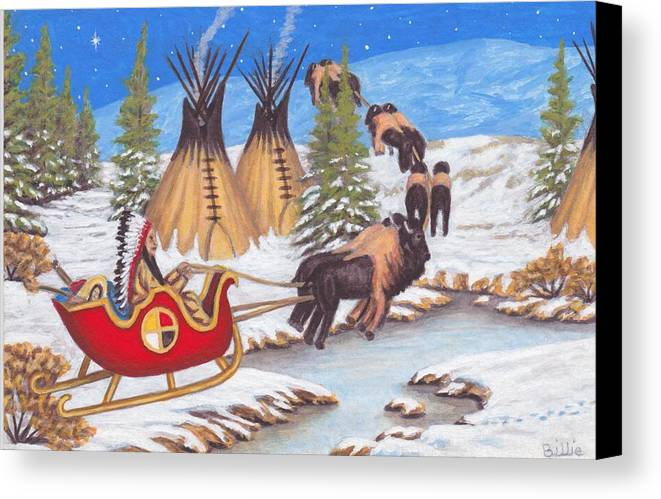 Santa Canvas Print featuring the painting Santa For Indians by Billie Bowles