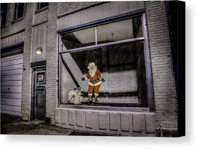 Santa Claus Canvas Print featuring the photograph Santa In Window by Ray Congrove