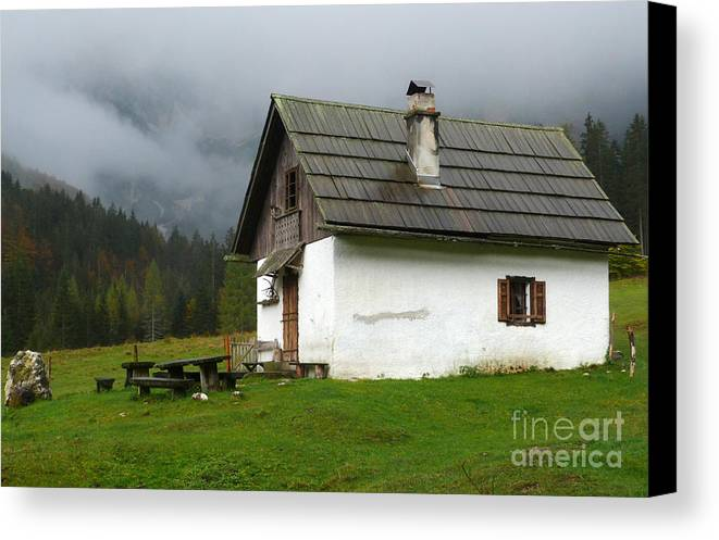 Pisnica Valley Canvas Print featuring the photograph Shelter In The Mountains by Phil Banks