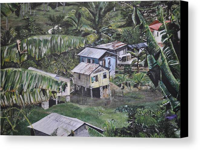 Landscape Canvas Print featuring the painting St Lucian Spot by Dottie branchreeves