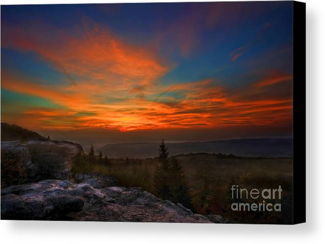 Sunrise Canvas Print featuring the photograph Sunrise At Bear Rocks In Dolly Sods by Dan Friend