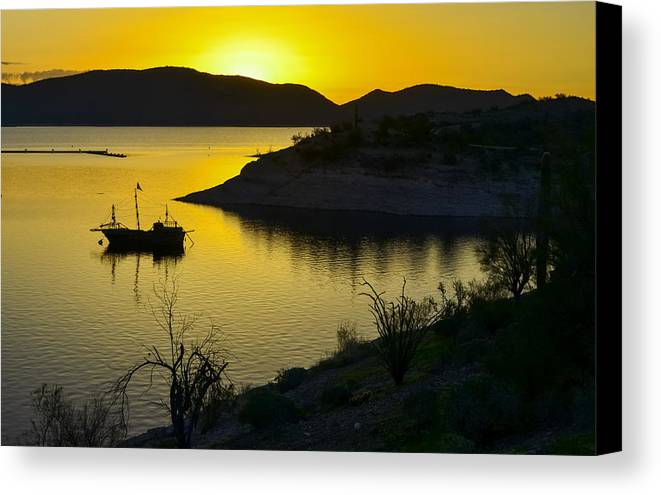 Arizona Canvas Print featuring the photograph Sunrise Over Lake Pleasant by George Davidson