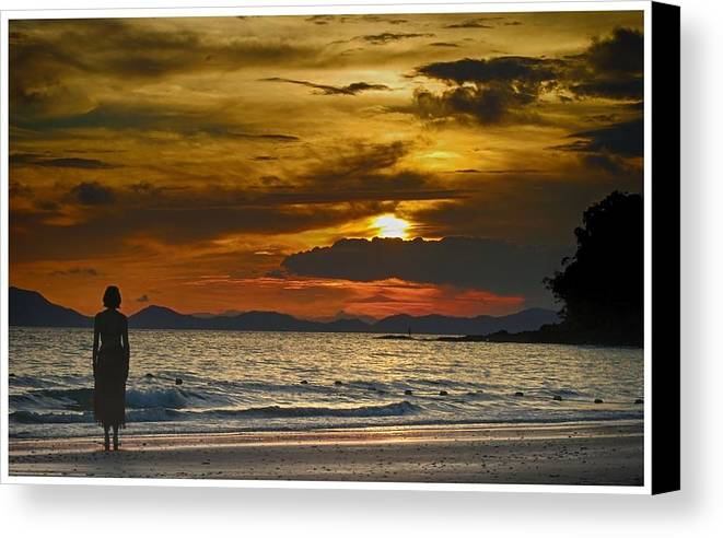 Thailand Canvas Print featuring the photograph Sunset On The Beach At Krabi Thailand by River Engel