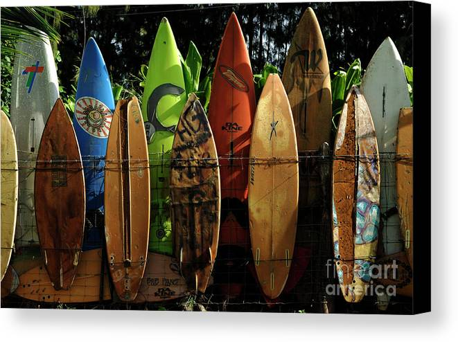 Hawaii Canvas Print featuring the photograph Surfboard Fence 4 by Bob Christopher