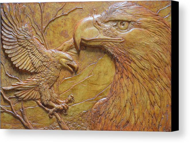 Eagles Canvas Print featuring the sculpture Teton Pair by Jeremiah Welsh