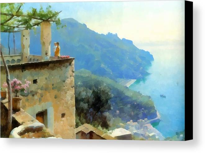 The Ravello Coastline Canvas Print featuring the digital art The Ravello Coastline by Peder Mork Monsted