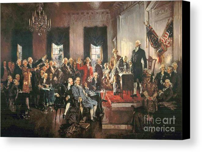 Congress Canvas Print featuring the painting The Signing Of The Constitution Of The United States In 1787 by Howard Chandler Christy