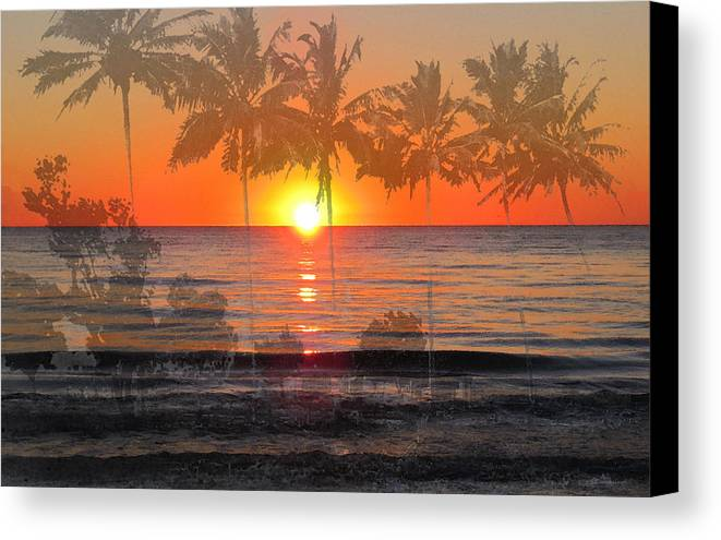 Beach Canvas Print featuring the painting Tropical Spirits - Palm Tree Art By Sharon Cummings by Sharon Cummings