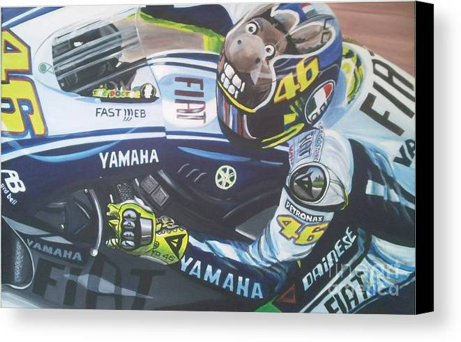 Valentino Rossi Canvas Print featuring the painting Valentino Rossi - The Doctor by Richard John Holden RA