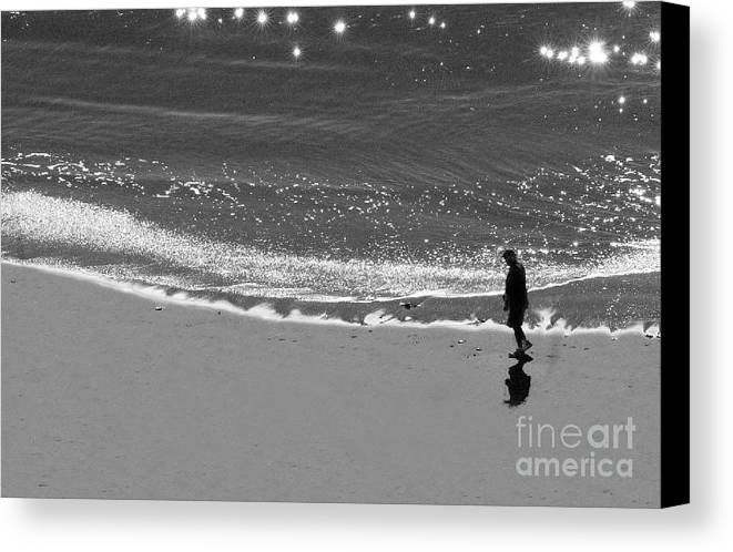 Man Walking On Beach Canvas Print featuring the photograph Walking With God by Artist and Photographer Laura Wrede