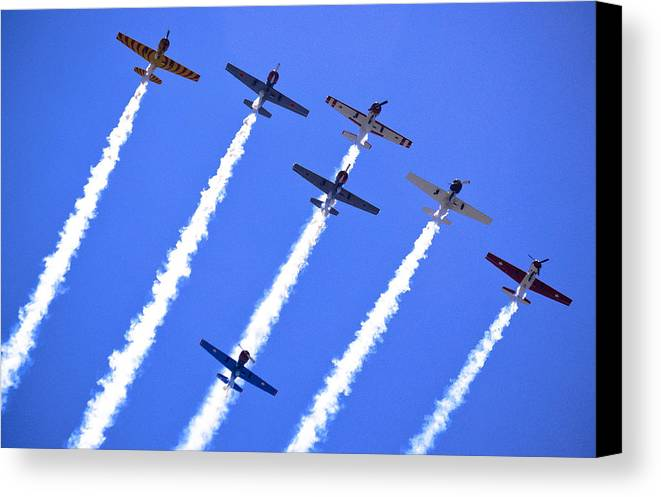 Flight Formation Canvas Print featuring the photograph Yak 52 Formation by Phil 'motography' Clark