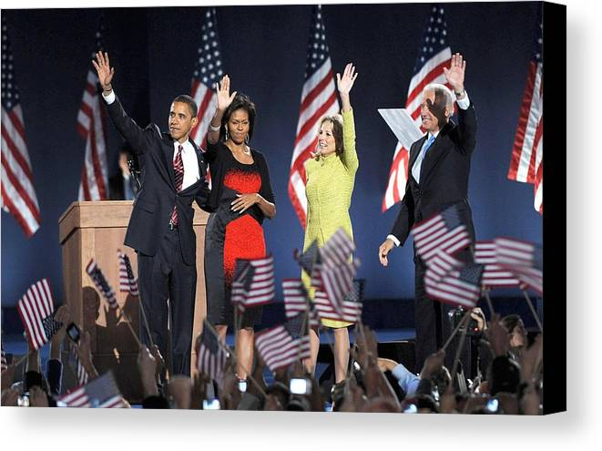 Barack Obama U.s. Presidential Election Victory Speech And Celebration Canvas Print featuring the photograph U.s. President Elect Senator Barack by Everett