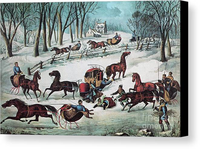 History Canvas Print featuring the photograph American Winter 1870 by Photo Researchers